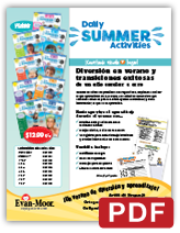 Daily Summer Activities School fundraiser parent flyer Spanish
