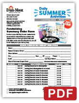 Daily Summer Activities School fundraiser Summary Order Form