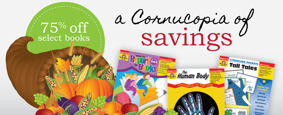 a Cornucopia of savings. 75% off selected books
