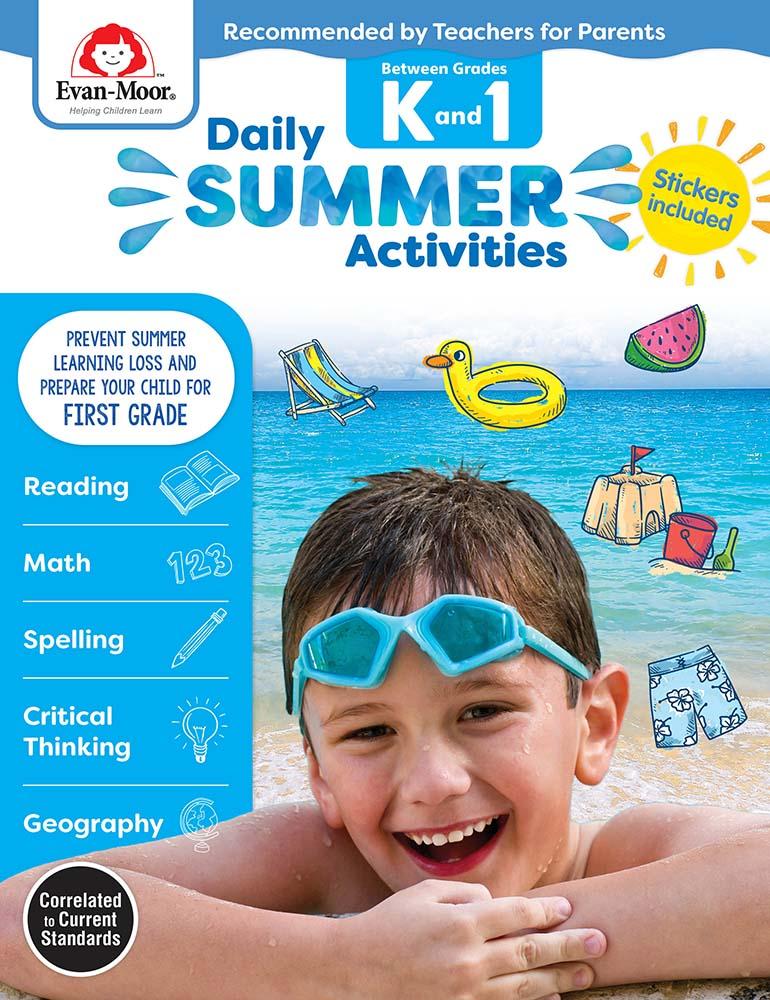 Evan-Moor Daily Summer Activities: Between Grades Kindergarten and 1st Grade,  Grades K-1 - Activity Book