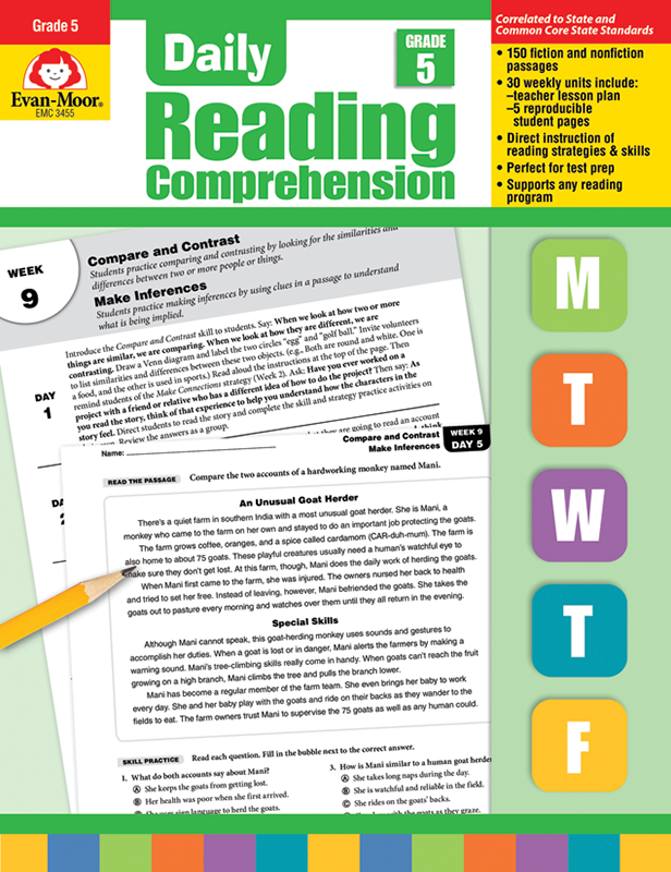 Daily Reading Comprehension, Grade 5 - Teacher's Edition, E-book