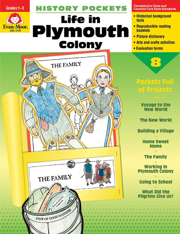 Evan-Moor History Pockets: Life in Plymouth Colony, Grades 1-3 - Teacher Reproducibles, E-book