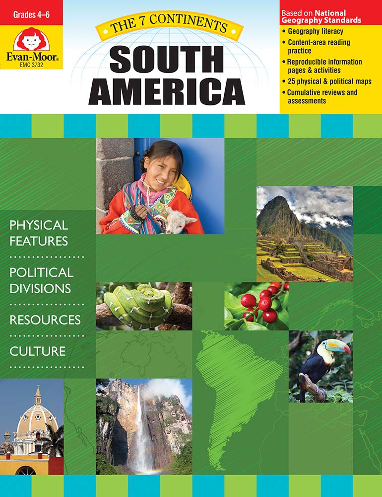 Help your students explore the landforms, political divisions, resources, and culture of South America! The 7 Continents: South America helps students develop geography literacy while they learn about the unique characteristics of South America.