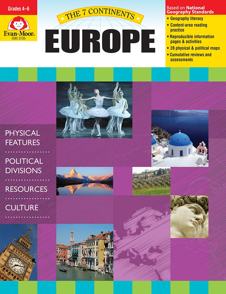 Help your students explore the landforms, political divisions, natural resources, and culture of Europe! The 7 Continents: Europe helps student develop geography literacy while they learn about the unique characteristics of Europe.