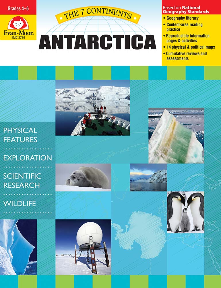 Help your students explore the landforms, climate, history, and wildlife of Antarctica! The 7 Continents, Antarctica helps student develop geography literacy while they learn about the unique characteristics of Antarctica.