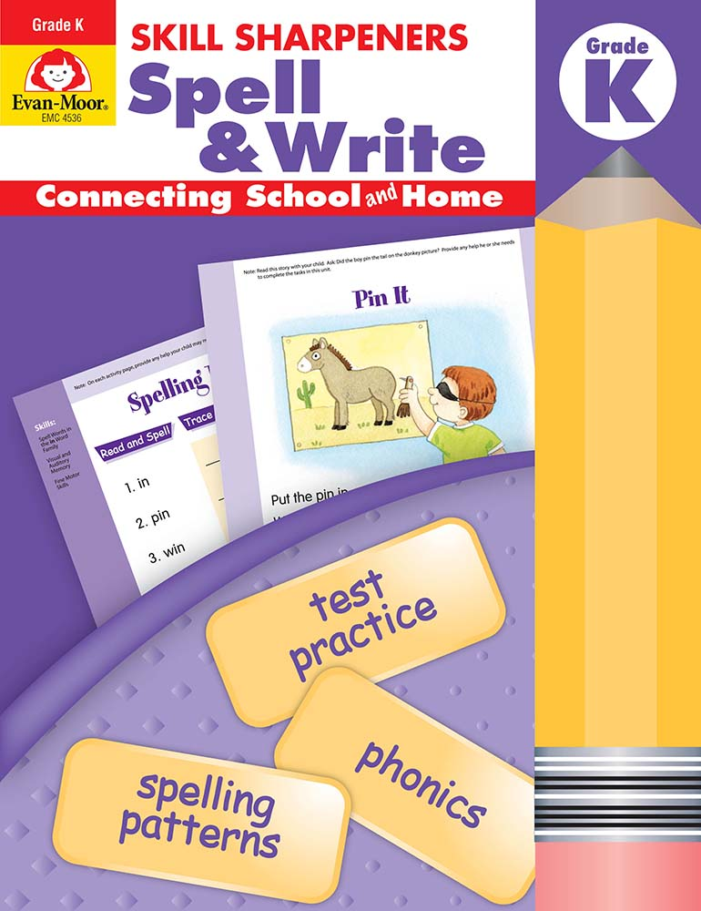 Evan-Moor Skill Sharpeners: Spell & Write, Grade K - Activity Book