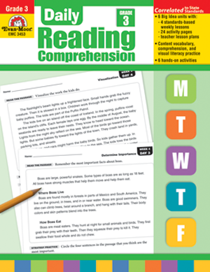 Picture of Daily Reading Comprehension, Grade 3 - Teacher's Edition