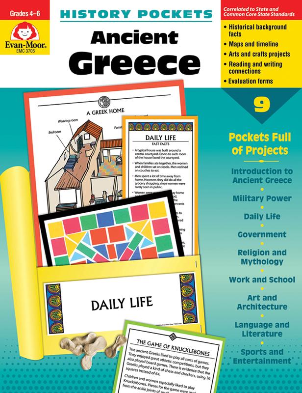 Evan-Moor History Pockets: Ancient Greece, Grades 4-6+ - Teacher Reproducibles, E-book