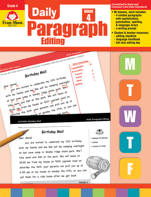 Picture of Daily Paragraph Editing, Grade 4 - Teacher's Edition, E-book