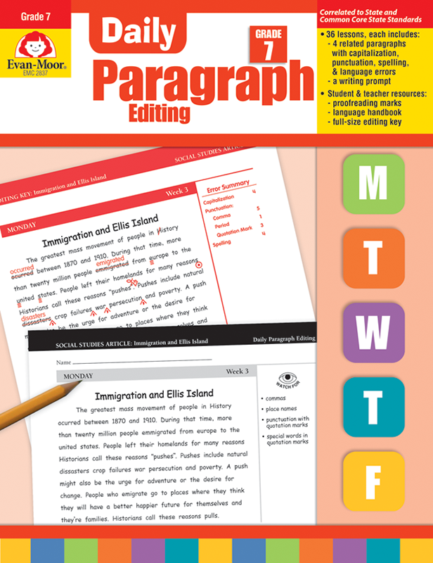 Picture of Daily Paragraph Editing, Grade 7 - Teacher's Edition, E-book