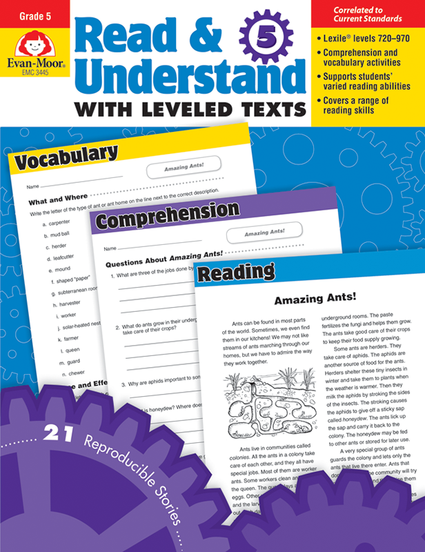 Picture of Read and Understand with Leveled Texts, Grade 5 - Teacher Reproducibles, E-book