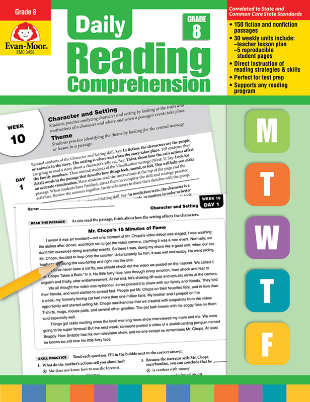 Picture of Daily Reading Comprehension, Grade 8 - Teacher's Edition, E-book