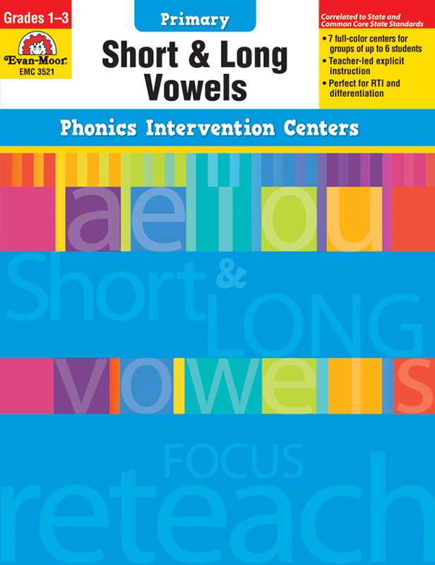 Picture of Phonics Intervention Centers: Short and Long Vowels, Grades 1-3 - Teacher Reproducibles, E-book