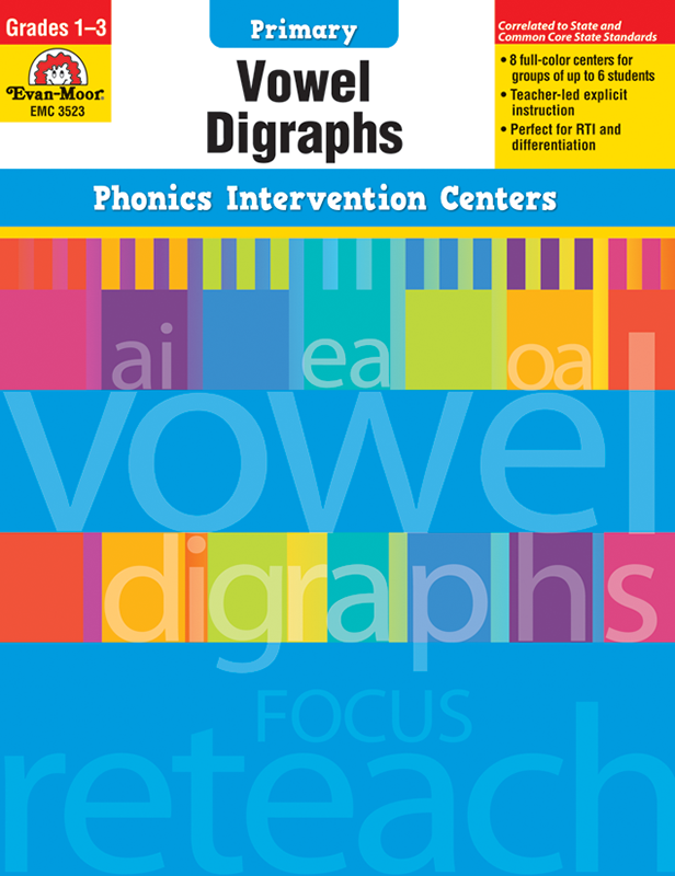 Picture of Phonics Intervention Centers: Vowel Digraphs, Grades 1-3 - Teacher Reproducibles, E-book