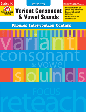 Picture of Phonics Intervention Centers: Variant Consonant and Vowel Sounds, Grades 1-3 - Teacher Reproducibles, Print