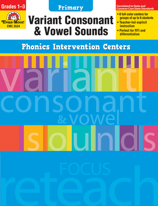 Picture of Phonics Intervention Centers: Variant Consonant and Vowel Sounds, Grades 1-3 - Teacher Reproducibles, E-book