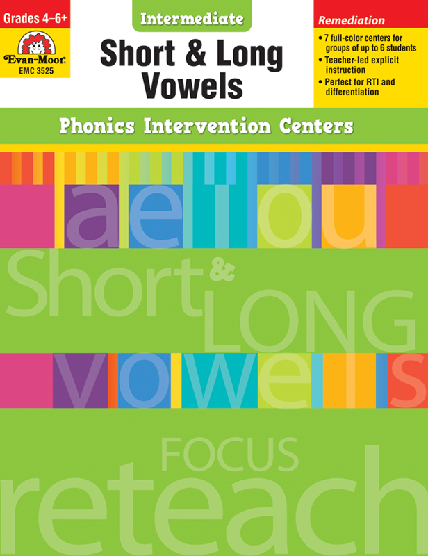 Picture of Phonics Intervention Centers: Short and Long Vowels, Grades 4-6+ - Teacher Reproducibles, E-book