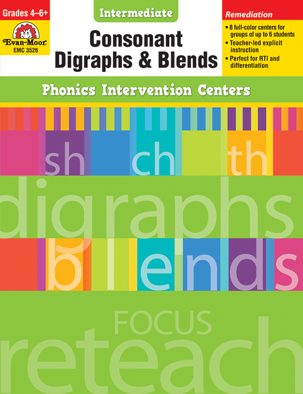 Picture of Phonics Intervention Centers: Consonant Digraphs and Blend, Grades 4-6+ - Teacher Reproducibles, E-book
