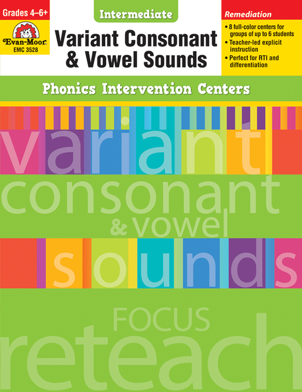 Picture of Phonics Intervention Centers: Variant Consonant and Vowel Sounds, Grades 4-6+ - Teacher Reproducibles, E-book