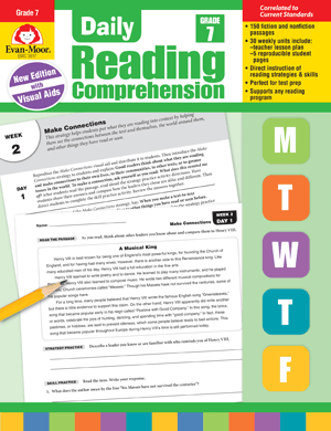 Picture of Daily Reading Comprehension, Grade 7 - Teacher's Edition, Print
