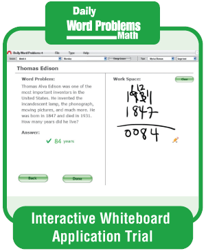 Picture of Daily Word Problems, Grade 3 - Interactive Lessons Trial