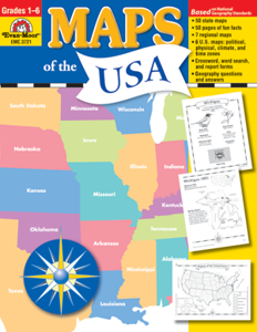 Picture of Maps of the USA, Grades 1-6 - Teacher Reproducibles, Print