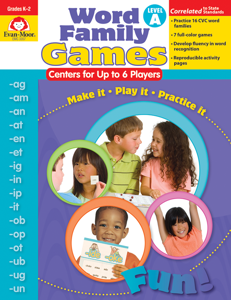 Word Family Games: Centers for Up to 6 Players, Grades K-2 (Level A)- Teacher Resource, E-book