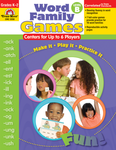 Word Family Games: Centers for Up to 6 Players, Grades K-2 (Level B) -   E-book- Teacher Resource, E-book