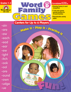 Word Family Games: Centers for Up to 6 Players, Grades 1-3 (Level D)- Teacher Resource, E-book