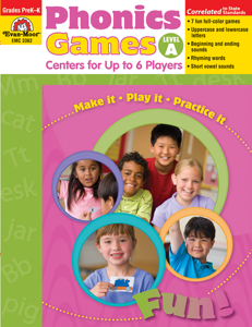 Phonics Games: Centers for up to 6 Players, Grades PreK-K (Level A)- Teacher Resource, E-book