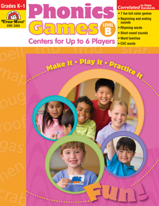 Phonics Games: Centers for up to 6 Players, Grades K-1 (Level B)- Teacher Resource, E-book