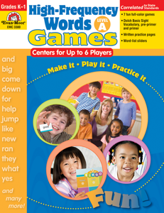 High-Frequency Words: Center Games, Grades K-1 (Level A)- Teacher Resource, E-book