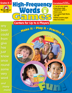 High-Frequency Words: Center Games, Grades K-1 (Level B)- Teacher Resource, E-book